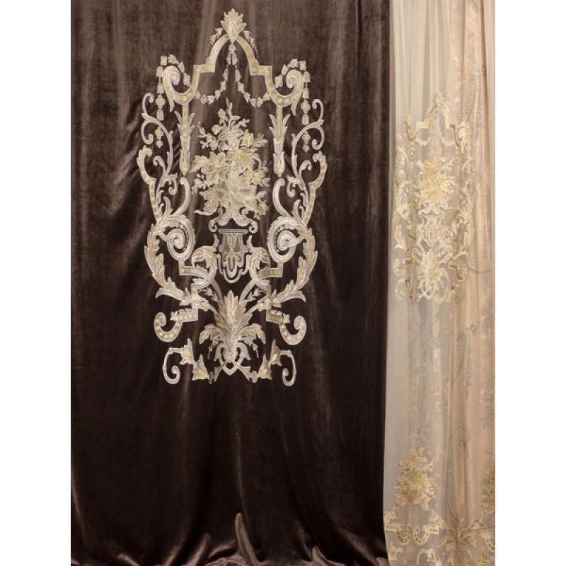 Бархат «Панно Палацио» с вышивкой арт. РН 16002-12 коричневый