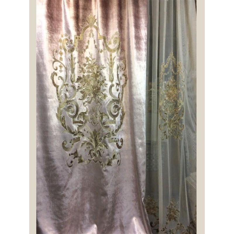 Бархат «Панно Палацио» с вышивкой арт. РН 16002-46 розовый