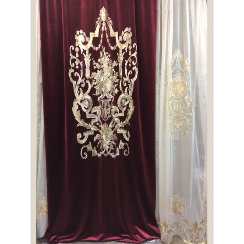 Бархат «Панно Палацио» с вышивкой арт. РН 16002-13 бордовый