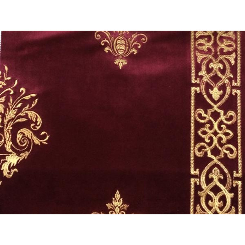 Бархат «Императорский» с вышивкой в золотых тонах арт. 130623А-14 бордовый
