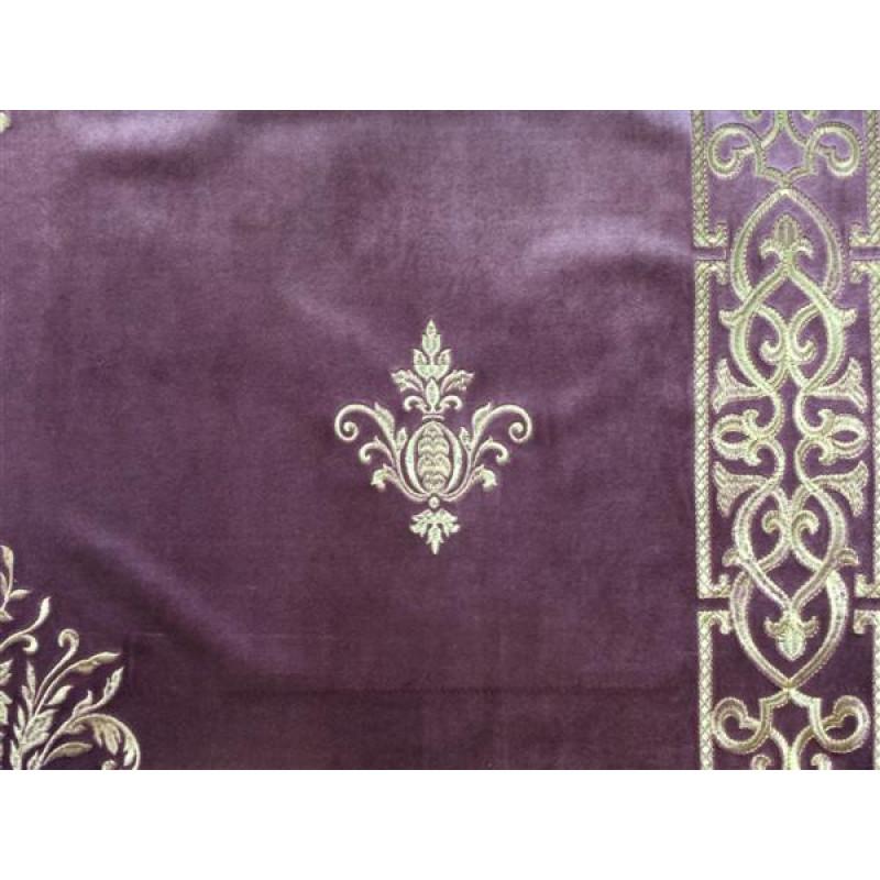 Бархат «Императорский» с вышивкой в золотых тонах арт. 130623А-15 сиреневый