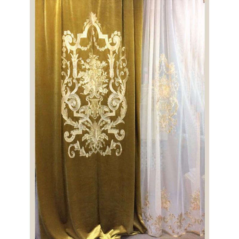 Бархат «Панно Палацио» с вышивкой арт. РН 16002-18 золотой