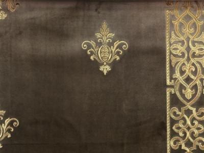 Бархат «Императорский» с вышивкой в золотых тонах арт. 130623А-18 светло-коричневый