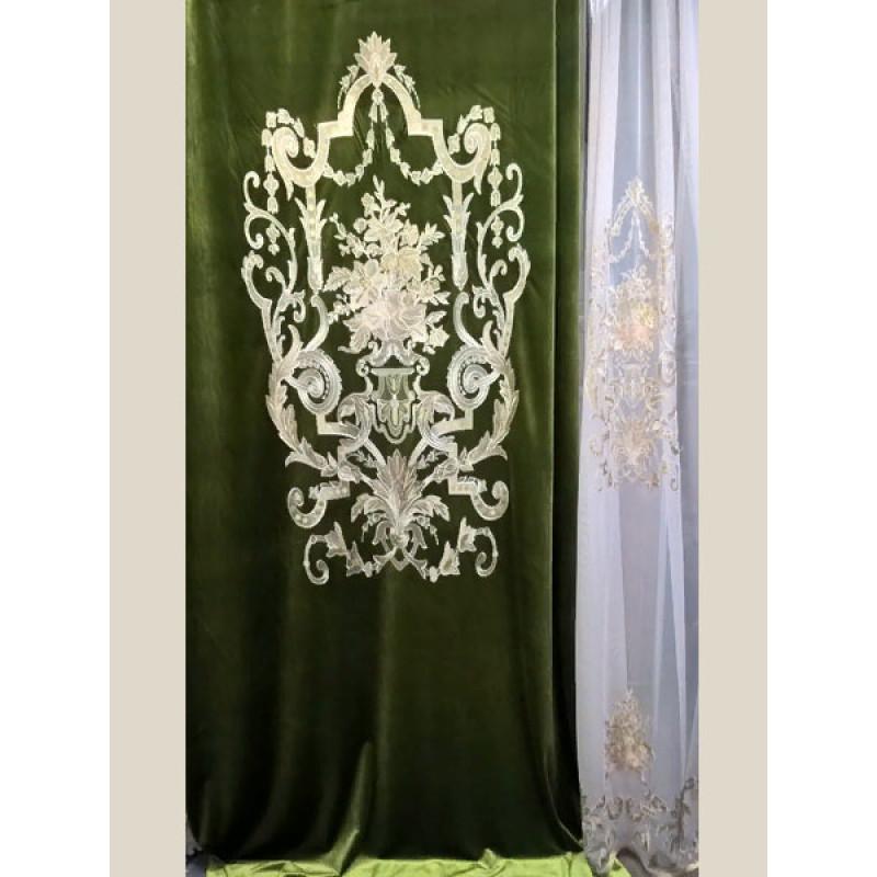 Бархат «Панно Палацио» с вышивкой арт. РН 16002-21 зеленый