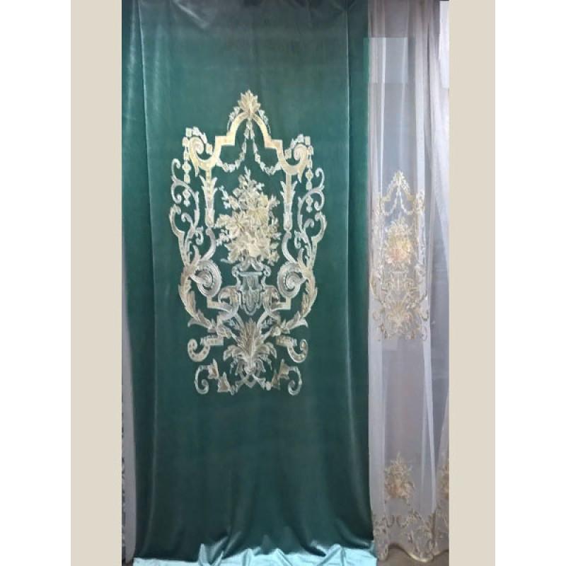 Бархат «Панно Палацио» с вышивкой арт. РН 16002-22 бирюзовый