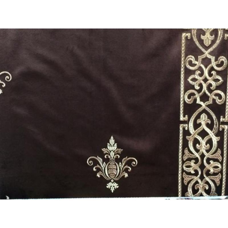 Бархат «Императорский» с вышивкой в золотых тонах арт. 130623А-23 коричневый