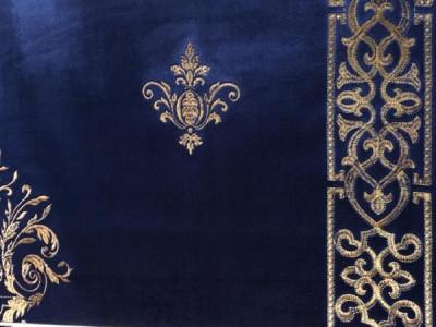Бархат «Императорский» с вышивкой в золотых тонах арт. 130623А-25