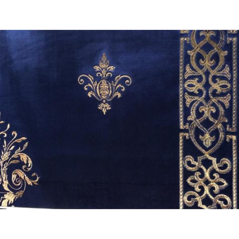 Бархат «Императорский» с вышивкой в золотых тонах арт. 130623А-25 синий