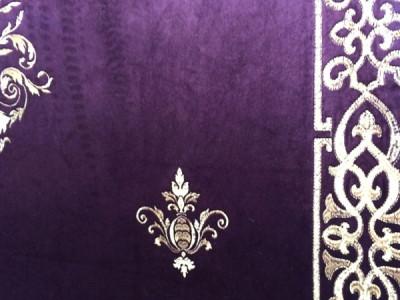 Бархат «Императорский» с вышивкой в золотых тонах арт. 130623А-28 фиолетовый
