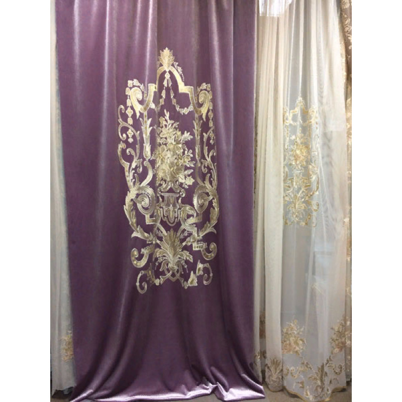 Бархат «Панно Палацио» с вышивкой арт. РН 16002-24 лиловый