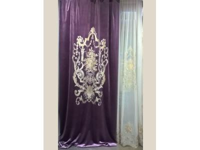 Бархат «Панно Палацио» с вышивкой арт. РН 16002-26 фиолетовый