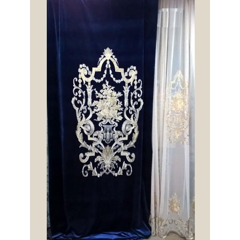 Бархат «Панно Палацио» с вышивкой арт. РН 16002-34 синий
