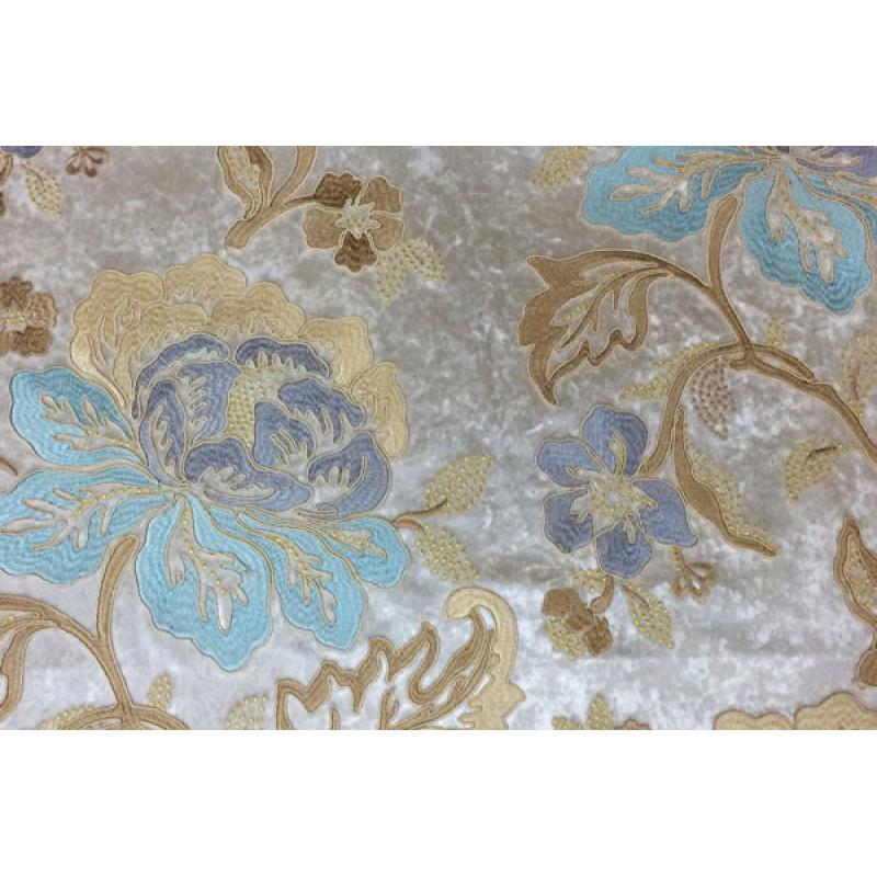 Бархат с вышивкой «Бьюти» молочный арт. J 151010C-1 молочный