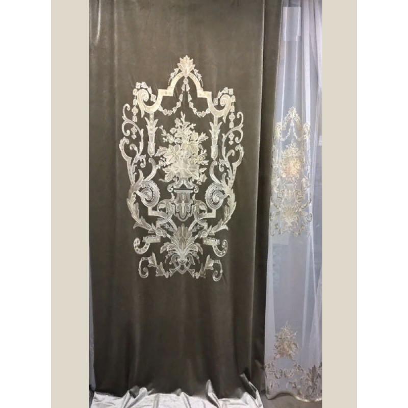 Бархат «Панно Палацио» с вышивкой арт. РН 16002-7 дымчатый