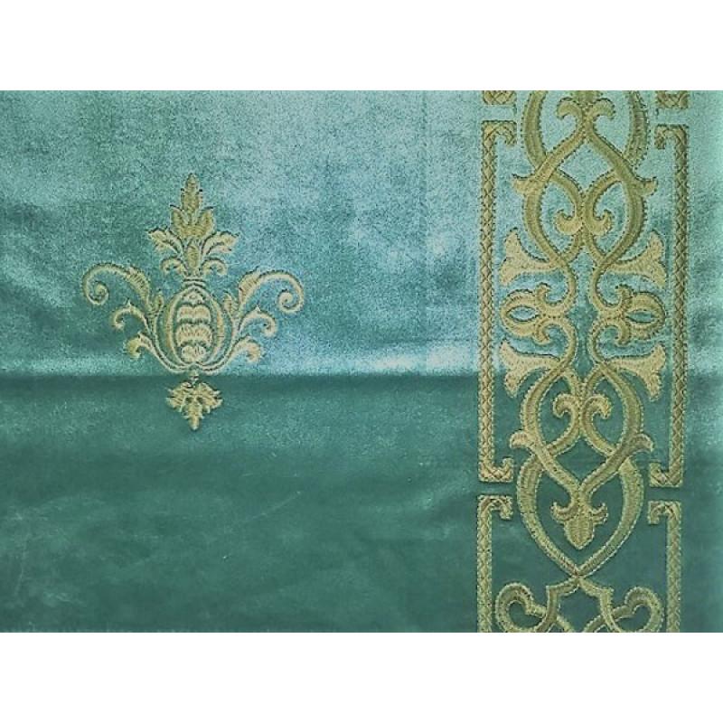 Бархат «Императорский» с вышивкой в золотых тонах арт. 130623А-8 бирюзовый