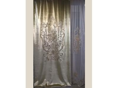 Бархат «Панно Палацио» с вышивкой арт. РН 16002-35 светло-золотой