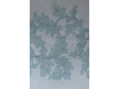 Тюль с вышивкой «Бьюти» и утяжелителем бирюзовый арт. J 151010В-1