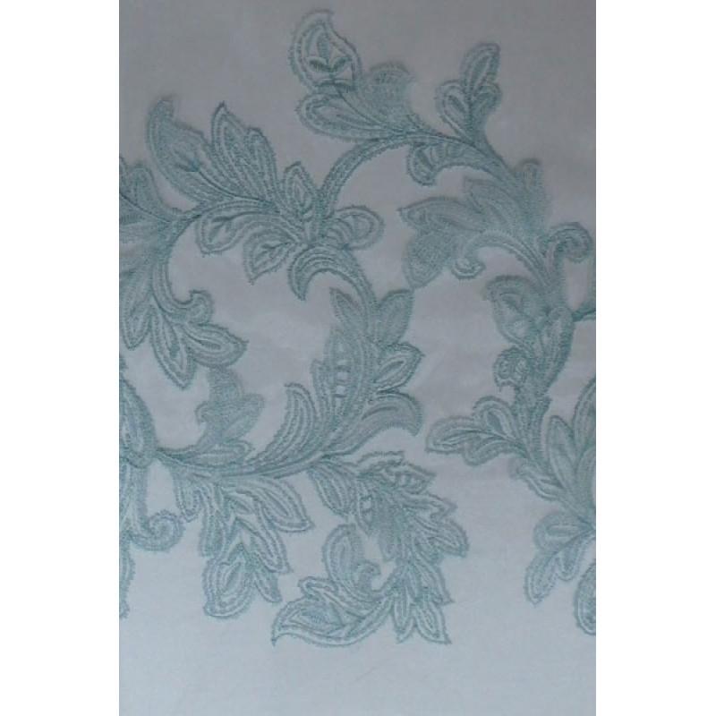 Тюль с вышивкой «Бьюти» и утяжелителем бирюзовый арт. J 151010В-1 органза белая, вышивка бирюза