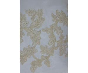 Тюль с вышивкой «Бьюти» и утяжелителем бежевый арт. J 151010В-2 органза белая, вышивка бежевая