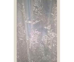 Тюль сетка с вышивкой «Камелия» арт. 011718702-04 бежевая
