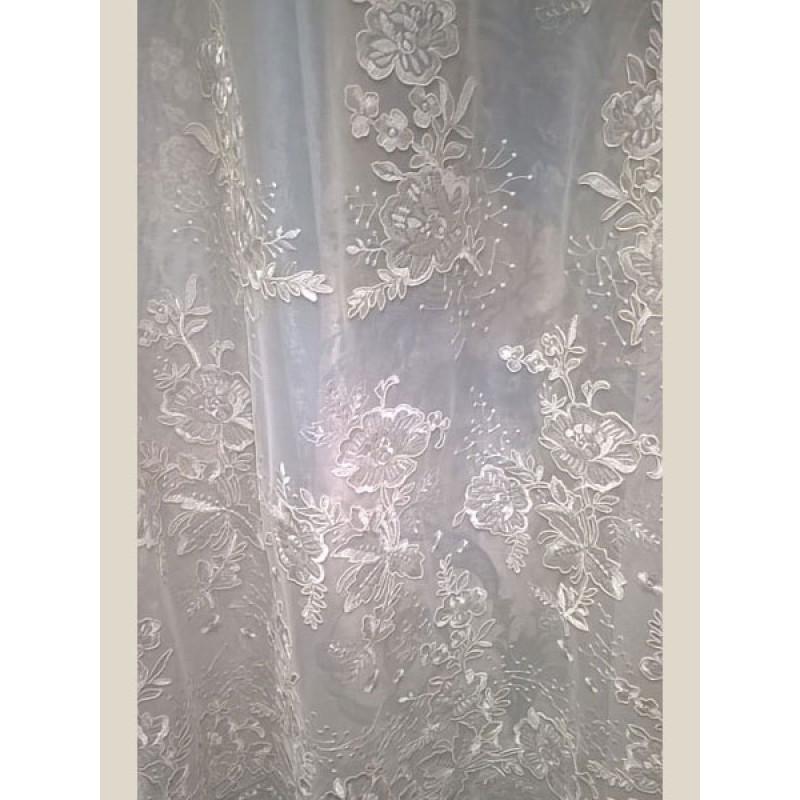 Тюль сетка с вышивкой «Камелия» арт. 011718702-04