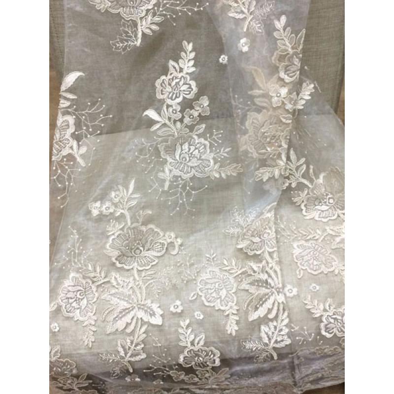 Тюль органза с вышивкой и утяжелителем «Камелия» арт. 011718702-17