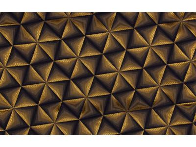 """Ткань портьерная """"Коражио"""" 3D треугольник арт. SL 181024-10 синий с золотым"""