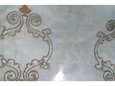 Тюль «Ноблесс» аппликация серебристо-серая арт. NB 150977B-5 органза белая, аппликация серебристо-серая