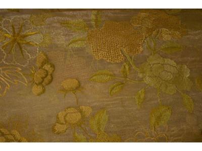 Органза Фэнтези cтиль «Барокко» арт. PTS 6818-1 органза бежевая, вышивка цветная