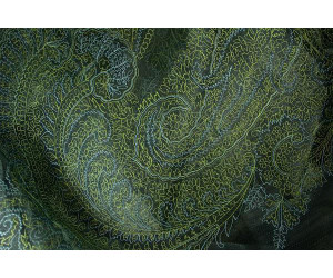 Органза Фэнтези Восточный стиль арт. PTS 6803-6 органза аквамарин, вышивка зелено-голубая