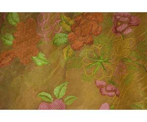 Органза Фэнтези cтиль «Барокко» арт. PTS 6818-2 органза шампань, вышивка цветная