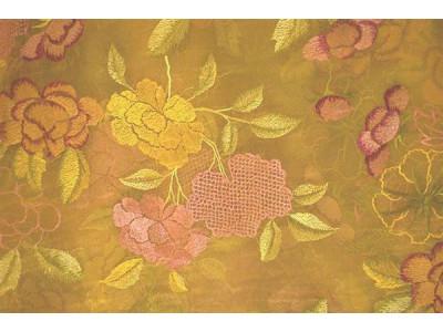 Органза Фэнтези cтиль «Барокко» арт. PTS 6818-3 органза оранжевая, вышивка цветная яркая