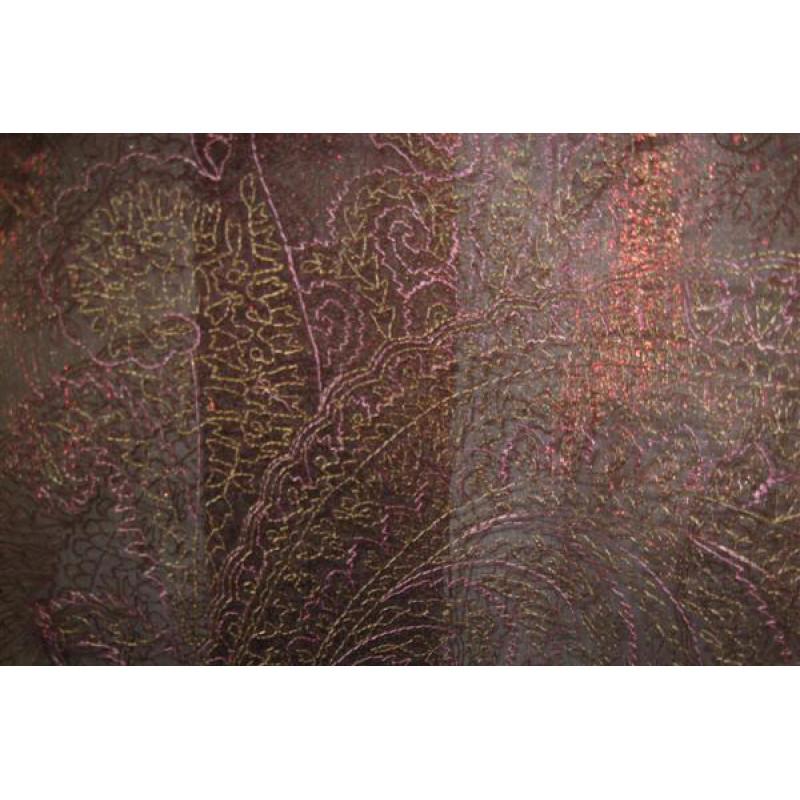 Органза Фэнтези Восточный стиль арт. PTS 6803-8 органза коричневая, вышивка розово-бежевая
