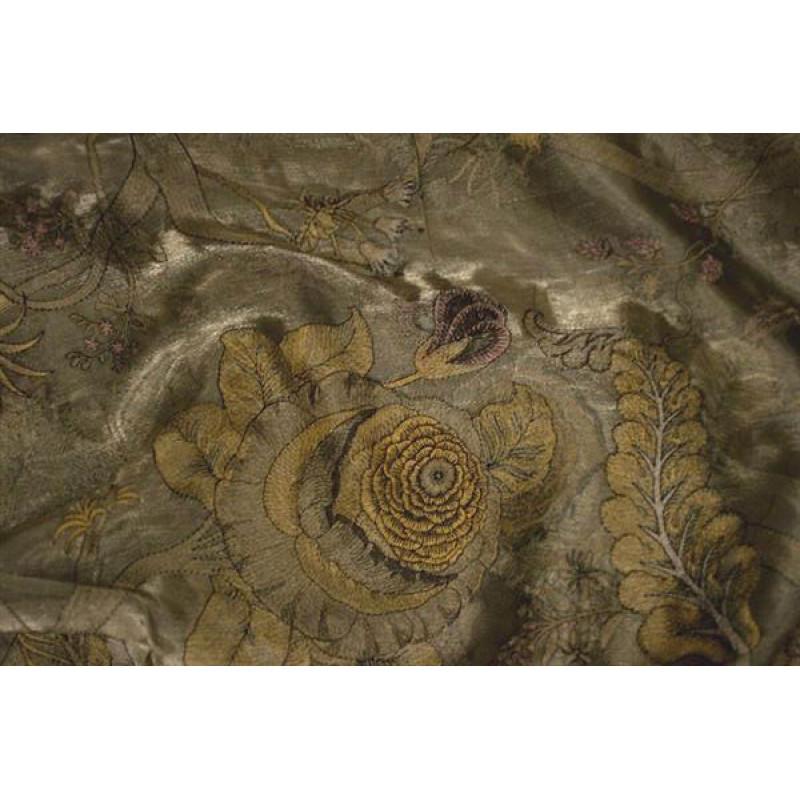 Органза Фэнтези Романтический стиль арт. TS 7508-5 органза светло-коричневая, вышивка цветная