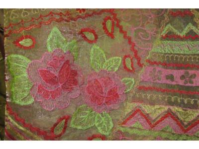 Органза Фэнтези Стиль «Кантри» арт. PTS 7513-1 органза шампань, вышивка цветная