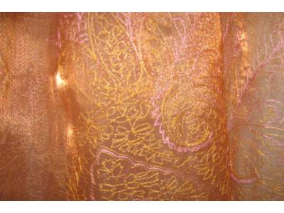 Органза Фэнтези Восточный стиль арт. PTS 6803-1 органза оранжевая, вышивка бево-розовая
