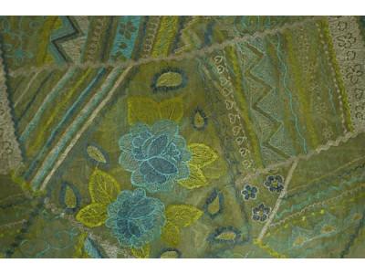 Органза Фэнтези Стиль «Кантри» арт. PTS 7513-4 органза салатовая, вышивка цветная