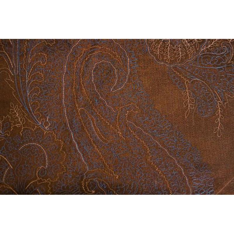 Органза Фэнтези Восточный стиль арт. PTS 6803-2 органза шоколадная, вышивка сине-бежевая