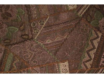 Органза Фэнтези Стиль «Кантри» арт. PTS 7513-5 органза коричневая, вышивка цветная