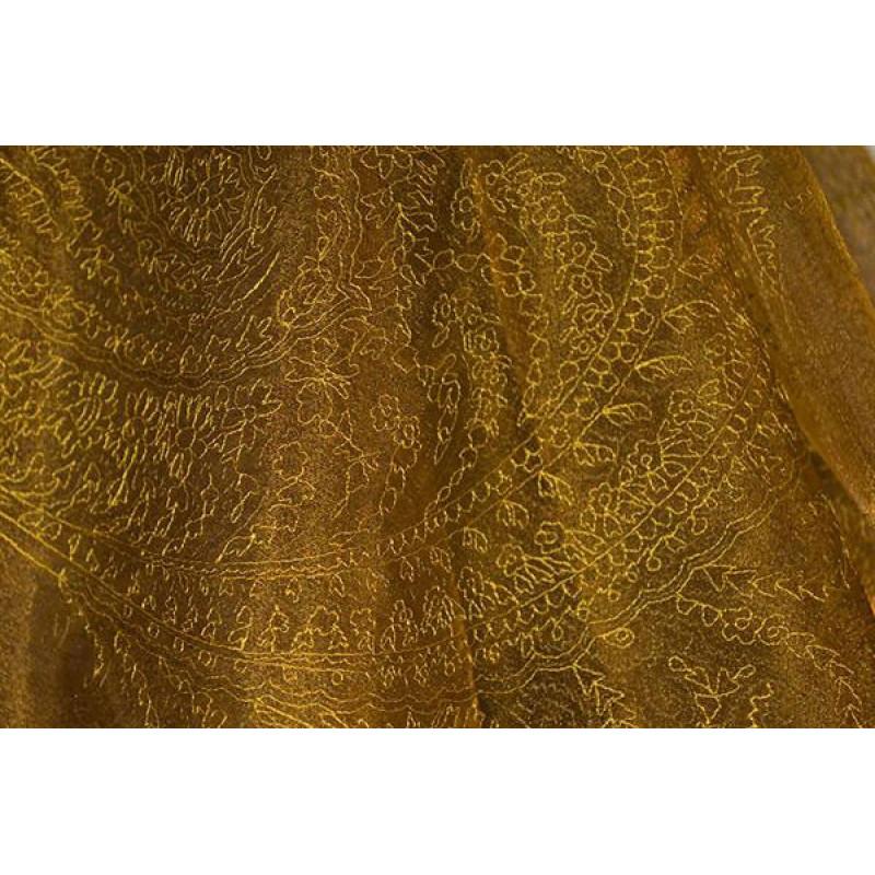 Органза Фэнтези Восточный стиль арт. PTS 6803-3 органза рыжая, вышивка желтая