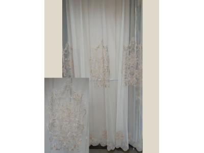Тюль-сетка с вышивкой «Панно Палацио» арт. РН 16002В-2 сетка молочная, вышивка светло-золотая