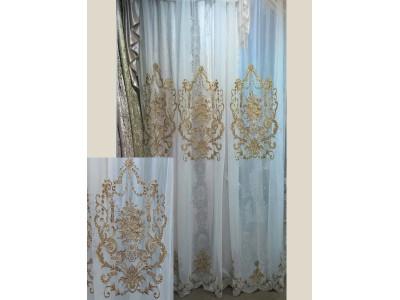 Тюль-сетка с вышивкой «Панно Палацио» арт. РН 16002В-3 сетка молочная, вышивка темно-золотая