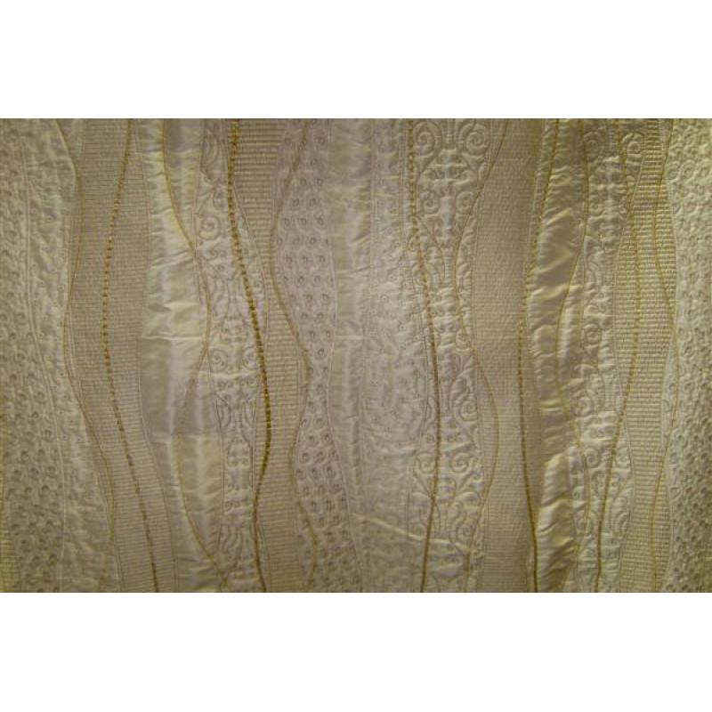 Натуральный шёлк с вышивкой арт. ZS-810 сливочный