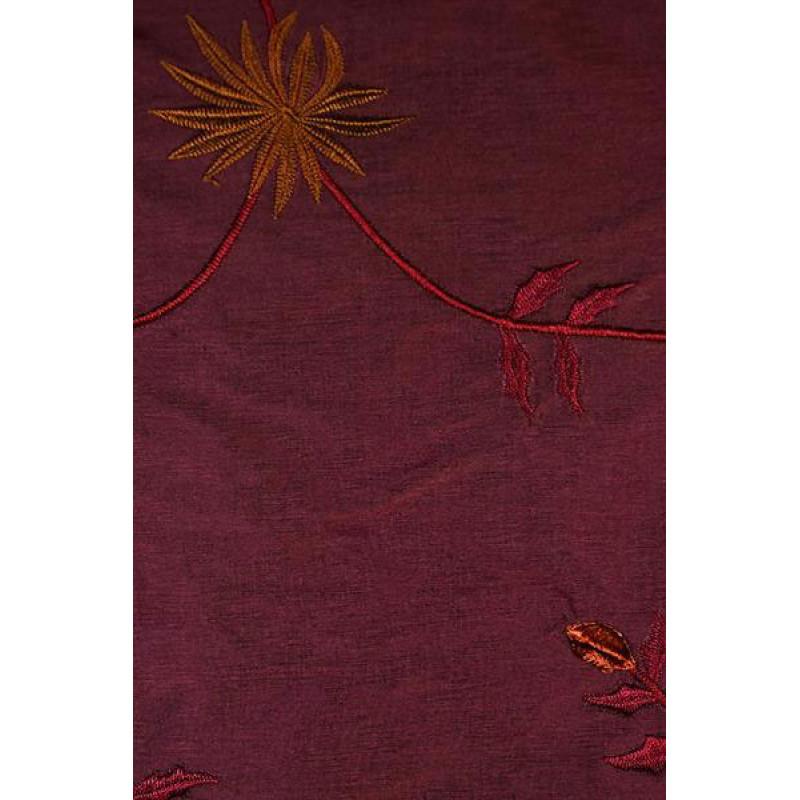 Натуральный шёлк с вышивкой арт. JS 602-10 баклажановый