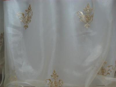Тюль «Императорский» с вышивкой золотой нитью арт. 130623В-8 органза белая, коронка светло-бежевая