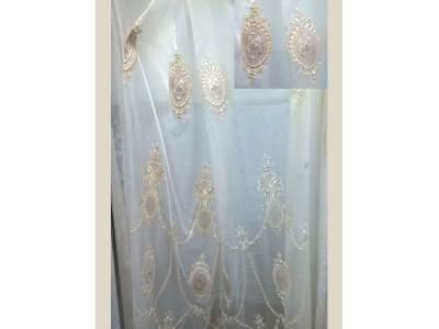 Тюль-сетка белая вышивка арт. 101638851-02 белый