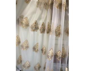 Тюль органза с вышивкой Дамаск без утяжелителя «Версаль» арт. 6501-2B органза белая, вышивка темно-золотая