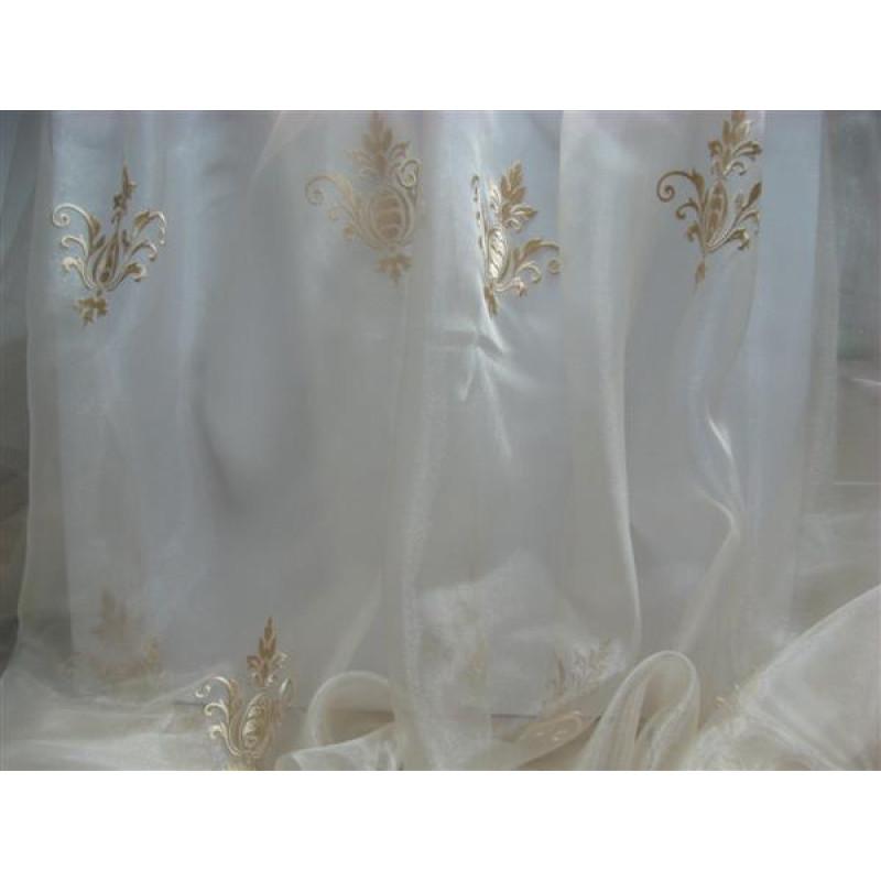 Тюль «Императорский» с вышивкой золотой нитью арт. 130623В-11 органза шампань, коронка светло-бежевая