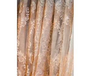 Тюль сетка с вышивкой без утяжелителя «Версаль» арт. 6501-3B сетка шампань, вышивка шампань