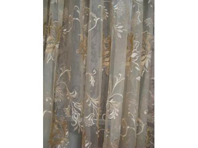 Тюль сетка с вышивкой без утяжелителя «Версаль» арт. 6502-3B сетка шампань, вышивка шампань